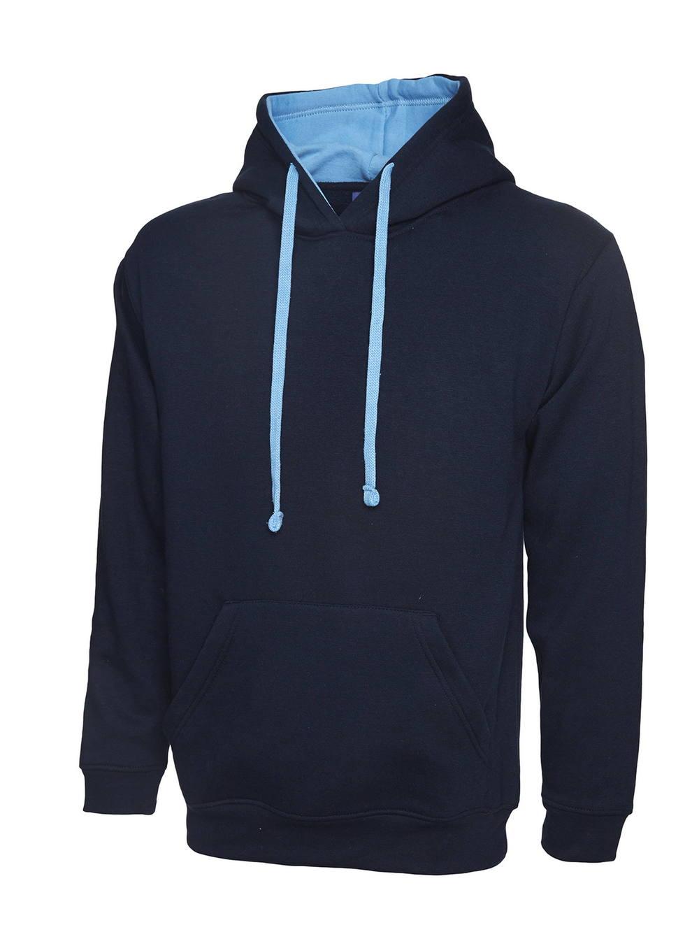 Uneek Contrast Hooded Sweatshirt